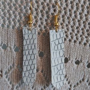 White Earring - faux leather